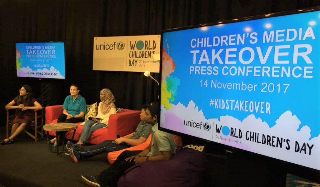 Q&A Session between UNICEF and the kids panel with media.