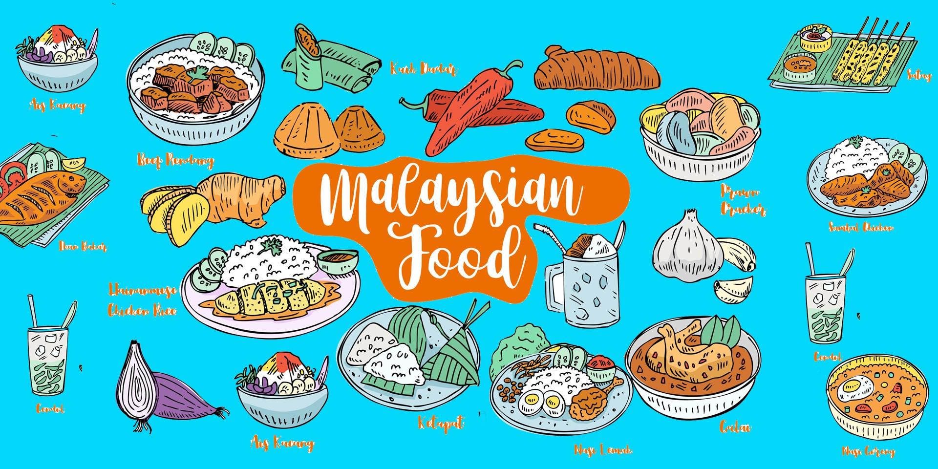 illustration of a variety of Malaysian food such as nasi lemak, nasi goreng, satay, ikan bakar, chicken rice.