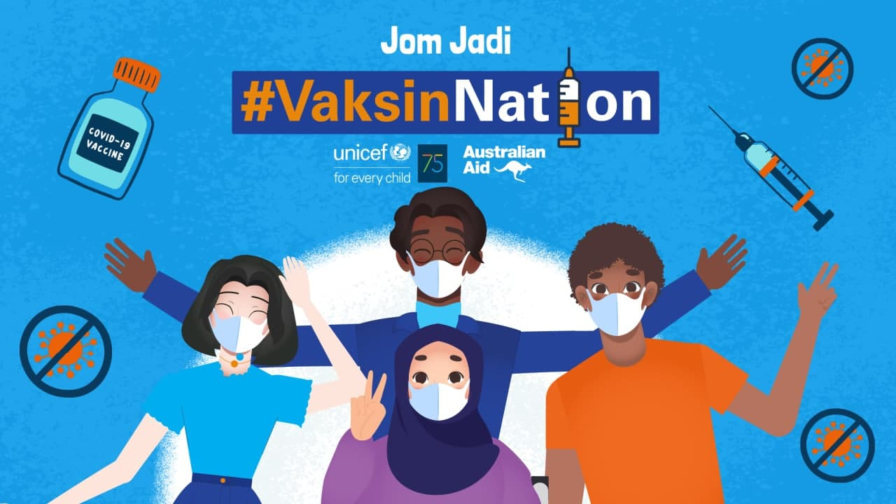 group of 4 young people championing vaccines for all for Malaysia to become a #VaksinNation.