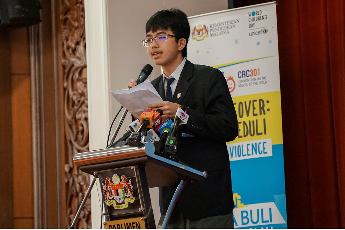 Johorean Aaron Lim Hong Rong (14) who is diagnosed with Aspergers shares the children's collective vision for bully-free schools during the KidsTakeover Parlimen.