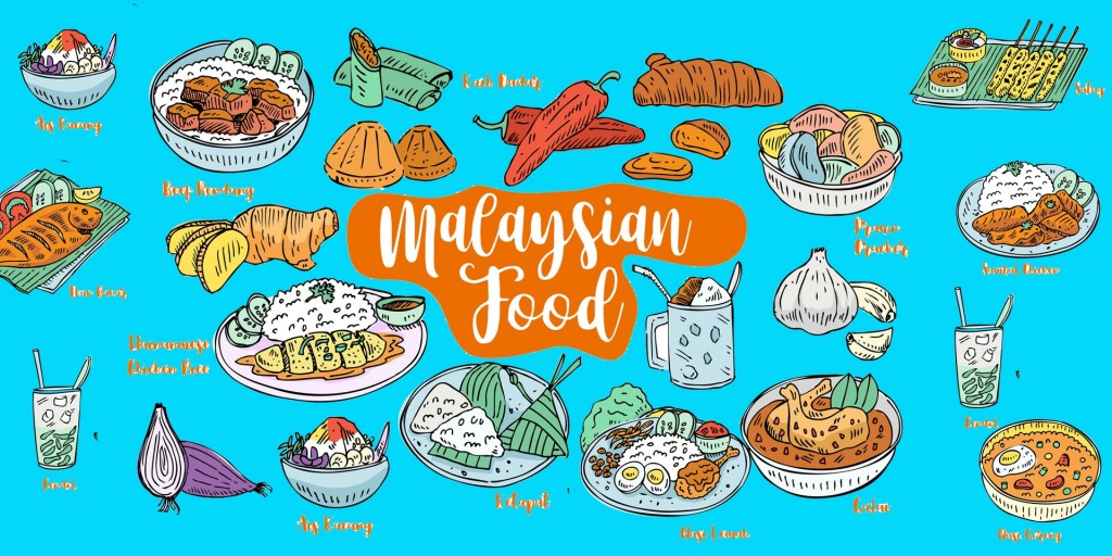 illustration of a variety of Malaysian food such as nasi lemak, nasi goreng, satay, ikan bakar, chicken rice.