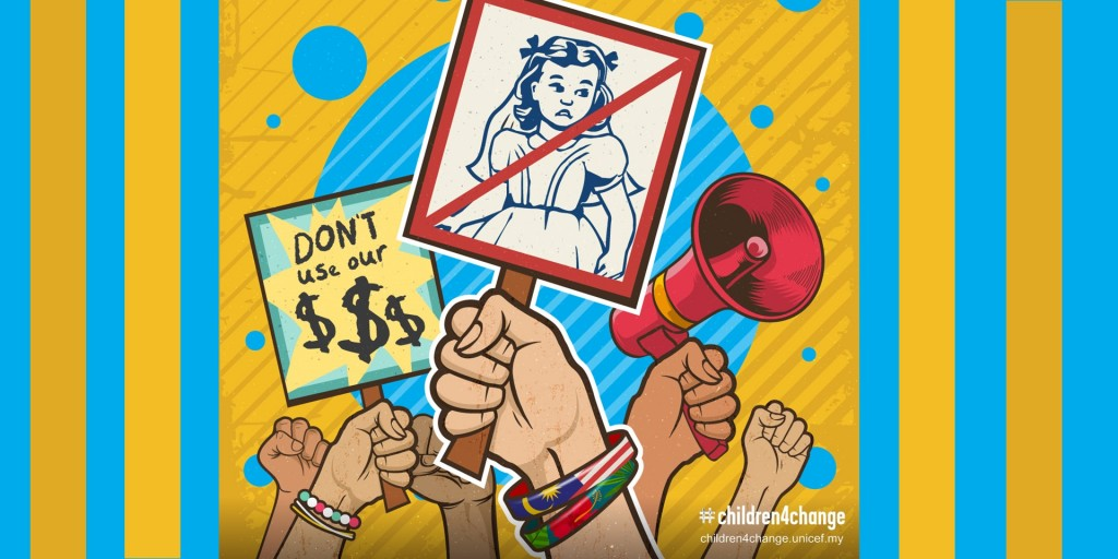 illustration of hands holding up placards championing children's issues.