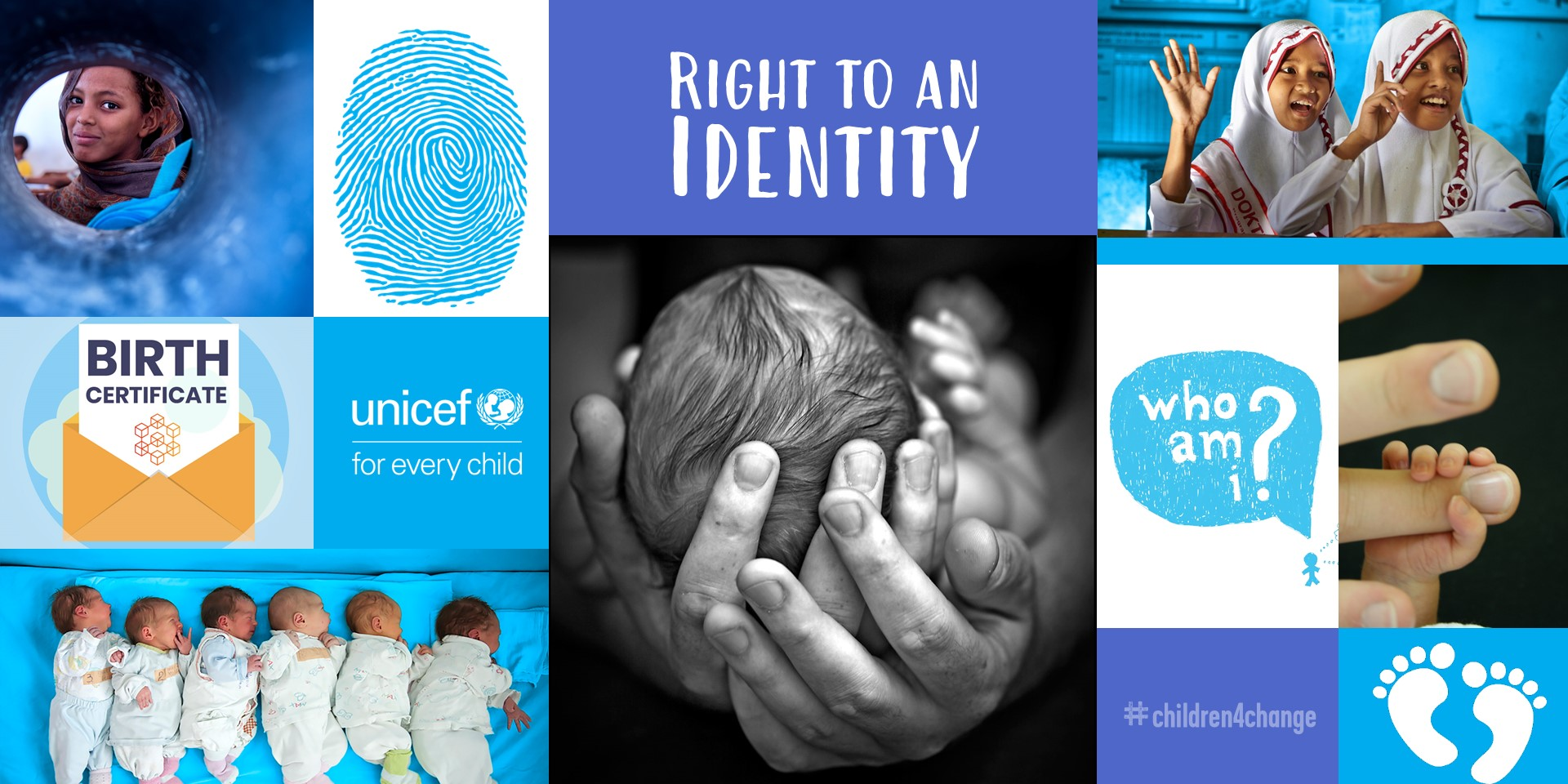 Photo collage on every person's right to an Identity.