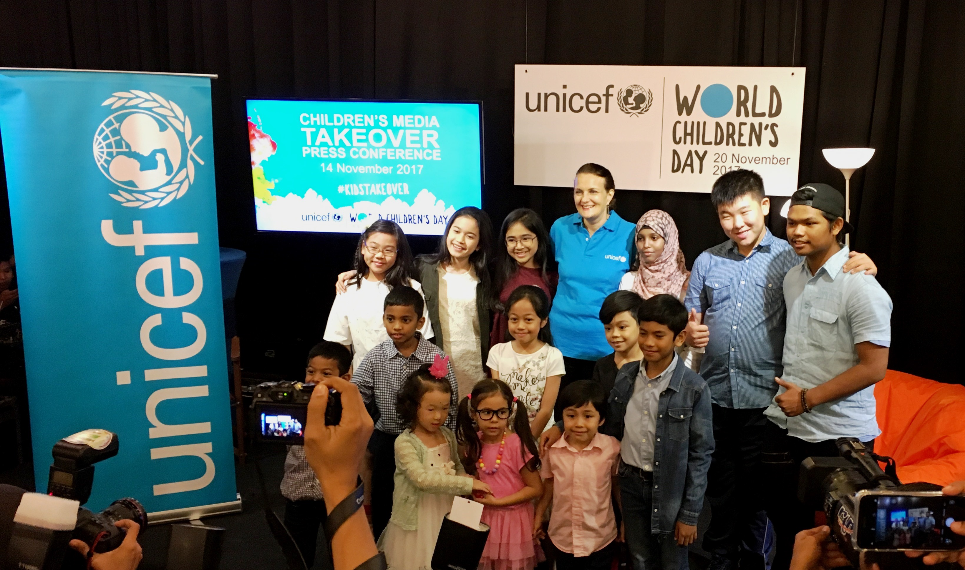 Children involved in Children's Media Takeover Press Conference with Marianne Clark-Hattingh, UNICEF Representative Malaysia