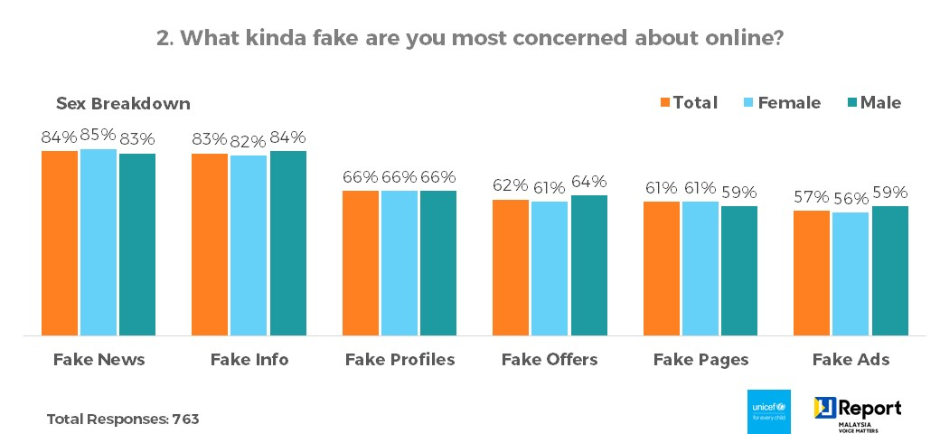 Q2. What kinda fake are you most concerned about online? - Sex Breakdown