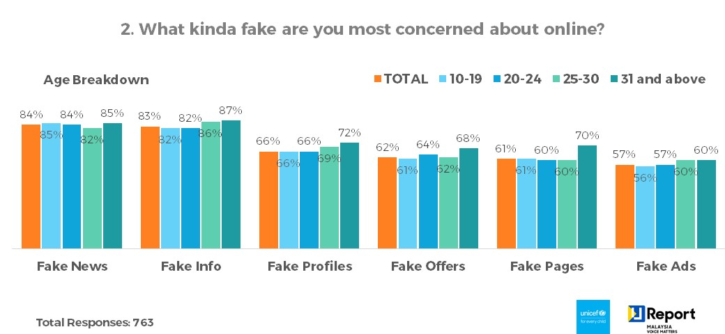 Q2. What kinda fake are you most concerned about online? - Age Breakdown