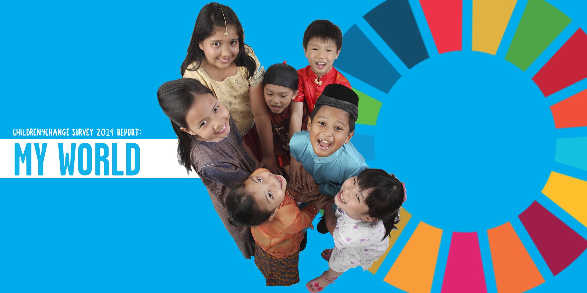 group of Malaysian children stand together in front of the SDG circle